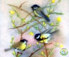 Картина из шерсти, птицы, синицы, шерстяная акварель