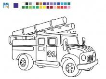 Онлайн раскраска пожарной машины